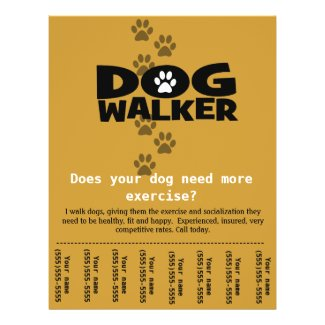 Dog Walker Custom promotional tear-sheet flyer