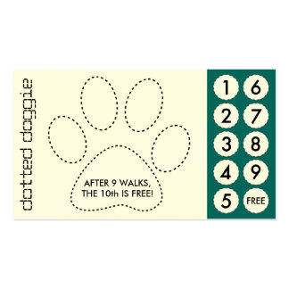 dog walker cut out punch cards