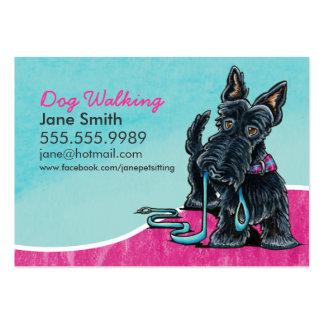 Dog Walker Cute Scottie Sky Blue Large Business Card