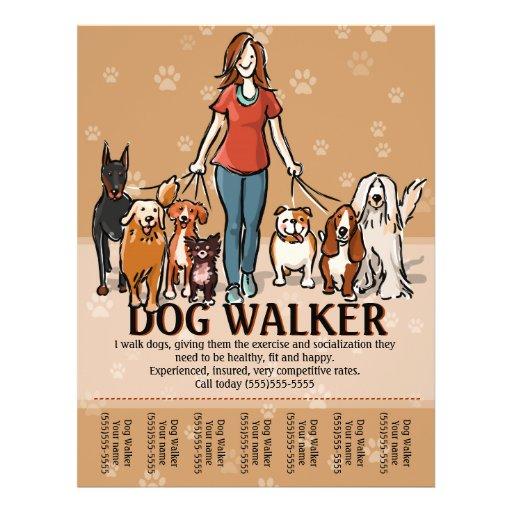 dog walker dog walking advertising template flyer zazzle. Black Bedroom Furniture Sets. Home Design Ideas