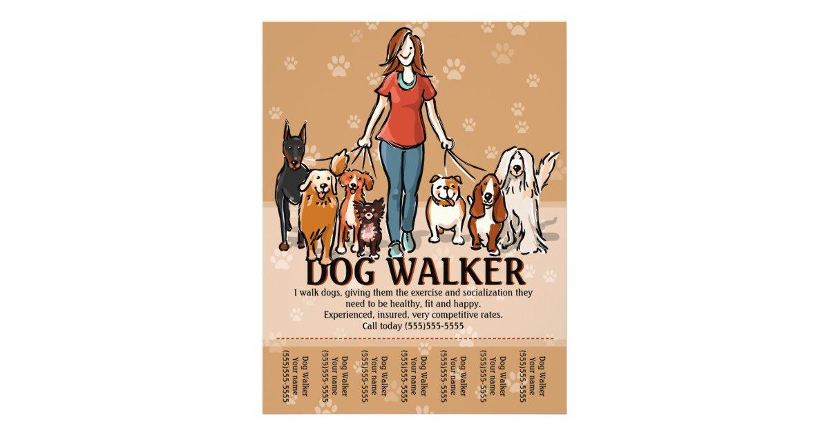 Dog Walker. Dog Walking. Advertising Template Flyer | Zazzle