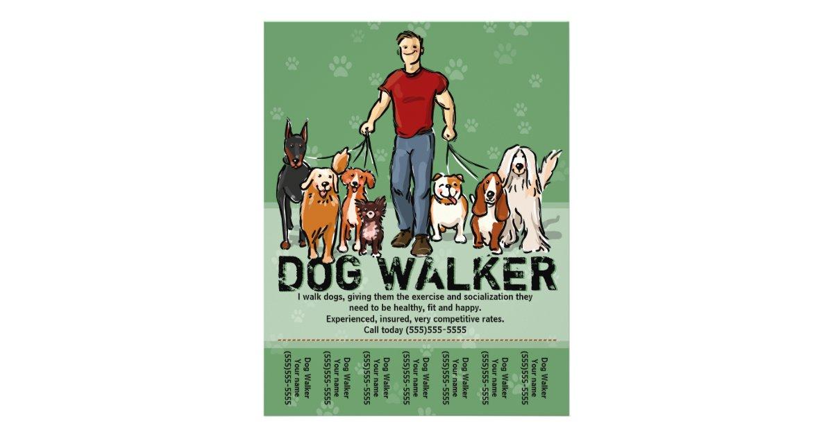 dog walker dog walking guy grn promotemplate flyer. Black Bedroom Furniture Sets. Home Design Ideas