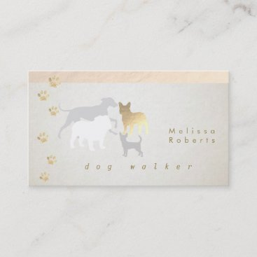 dog walker dogs silhouettes business card