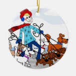 Dog walker Double-Sided ceramic round christmas ornament