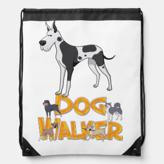 Dog Walker, Drawstring Backpack, Doggy Walking Drawstring Backpack