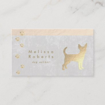 dog walker FAUX gold foil chihuahua Business Card