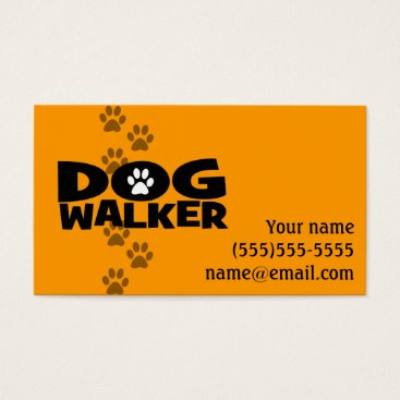 Professional Business Dog Walker Fully customizable promo card _orang