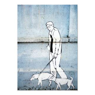 dog walker graffiti on branimirova street, croatia card