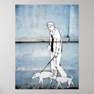 dog walker graffiti on branimirova street, croatia poster