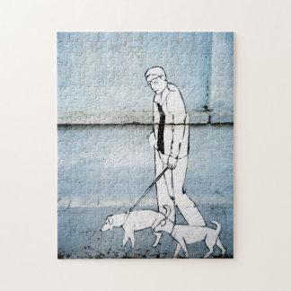 dog walker graffiti on branimirova street, croatia jigsaw puzzle