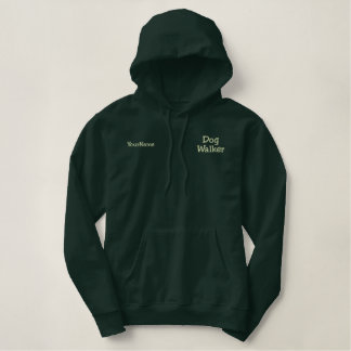 Dog Walker Green Thread Personalized Embroidered Hoodie
