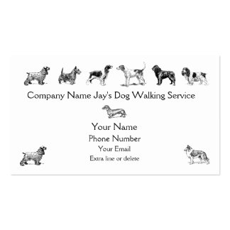 Dog Walker Groomer Pet Care Service Custom Company Tarjetas De Visita