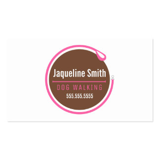Dog Walker Leash Loop Modern Pink Business Cards