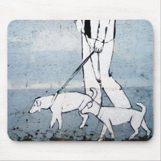 dog walker mouse pad