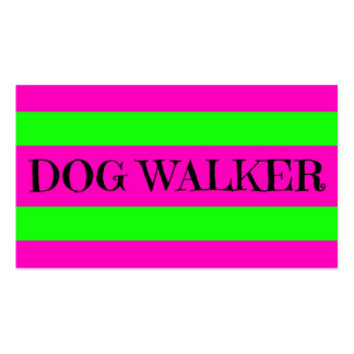 Dog Walker Neon Green and Hot Pink Double-Sided Standard Business Cards (Pack Of 100)