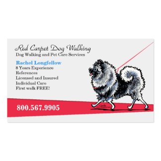 Dog Walker Pet Business Fancy Keeshond Double-Sided Standard Business Cards (Pack Of 100)