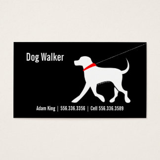 Dog Walker Pet Business Lab Modern Black Business Card