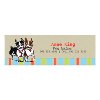 Dog Walker Pet Care Boston Stripes Mini Business Card