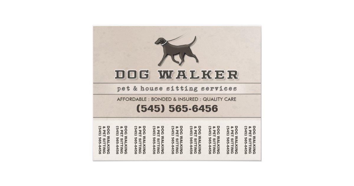 Dog Walker Pet Sitting Tear Off Flyer 56 x 45 – Tear off Flyer Template