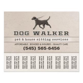 Dog Walker Flyers & Programs | Zazzle Dog Walker & Pet Sitting Tear Off Flyer 5.6 x 4.5