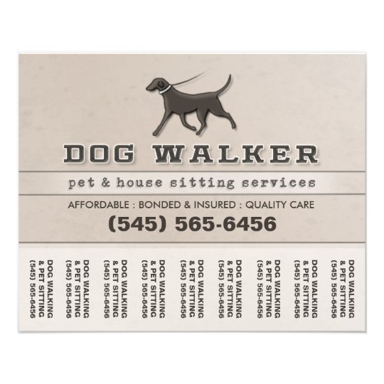 Dog walker pet sitting tear off flyer 5 6 x 4 5 for Puppy for sale flyer templates