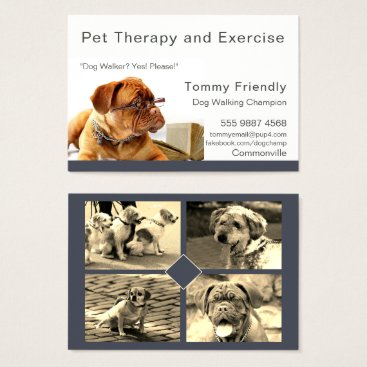 Professional Business Dog Walker Pet Therapy Photo Template Business Card