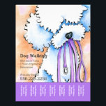 """Dog Walker Poodle Purple Personalized Tear Sheet<br><div class=""""desc"""">Promote your dog walking business with these full color tear sheet flyers that you personalize with your own info. Harness the popularity of original artwork by Andie, Off-Leash Art™ illustrator, to work for your business to draw in new clients. Features original white Poodle painting. Find also coordinating business cards in...</div>"""