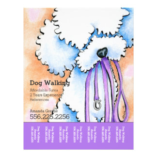 Dog Walker Poodle Purple Personalized Tear Sheet