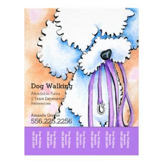 """Dog Walker Poodle Purple Personalized Tear Sheet 8.5"""" X 11"""" Flyer"""