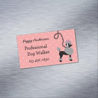 Dog Walker Poodle Retro Modern 50s Pet Walking Business Card Magnet