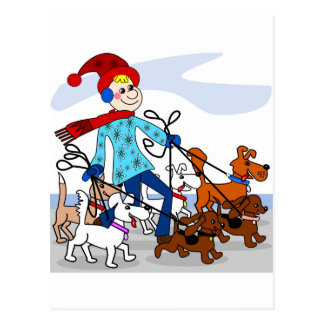 Dog walker postcard