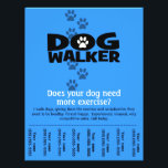 """Dog Walker Promotional tear sheet flyer template_B<br><div class=""""desc"""">Bold graphics and fully customizable wording and color. This is a perfect way to promote a dog walking business. (nice, practical gift to help someone in their quest to earn more money too) Cut between the contact numbers so that people can just tear off the info. Hang in local businesses,...</div>"""