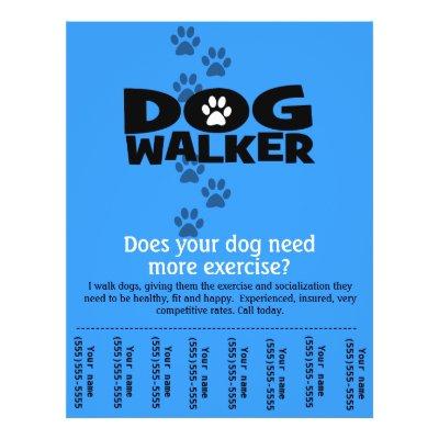 Dog Walker Walking Business Flyer Template Small | Zazzle.com