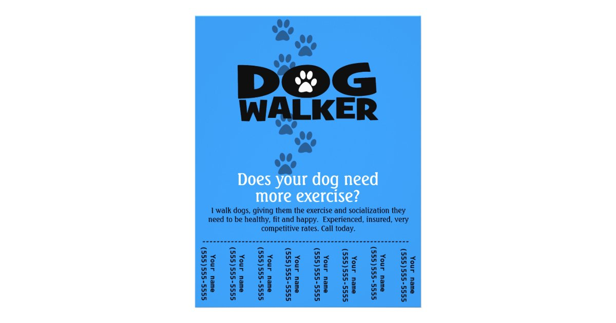 Dog Walker Promotional Tear Sheet Flyer Template B Zazzle