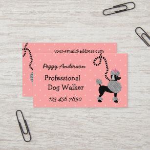 Dog walking business cards templates zazzle dog walker retro modern 50s poodle pet walking business card colourmoves