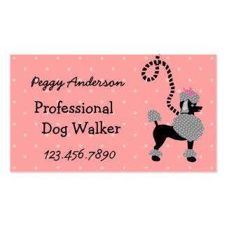 Dog Walker Retro Modern 50s Poodle Pet Walking Business Card