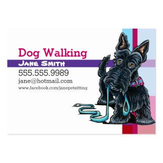 Dog Walker Scottie Pink Purple Plaid Large Business Card