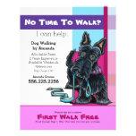 Dog Walker Scottie Plaid Discount Coupon Ad Flyer Design