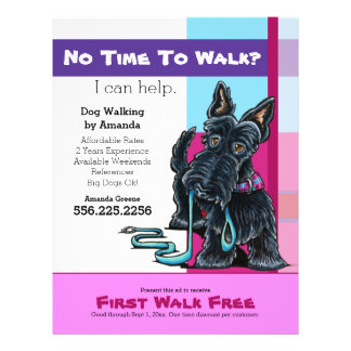 Dog Walker Scottie Plaid Discount Coupon Ad Flyer