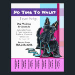 """Dog Walker Scottie Plaid Personalized Tear Sheet<br><div class=""""desc"""">Promote your dog walking business with these full color tear sheet flyers that you personalize with your own info. Harness the popularity of original artwork by Andie, Off-Leash Art™ illustrator, to work for your business to draw in new clients. Features Scottish Terrier drawing against pink, blue and purple plaid background....</div>"""