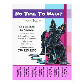 """Dog Walker Scottie Plaid Personalized Tear Sheet 8.5"""" X 11"""" Flyer"""