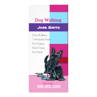 Dog Walker Scottie Plaid Pet Business Marketing Rack Card