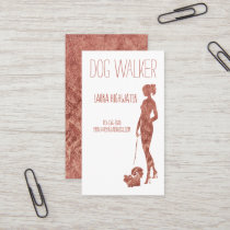 Dog Walker Silhouette Rose Gold Faux Foil Pet Business Card