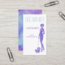 Dog Walker Silhouette Watercolor Purple Pet Sitter Business Card