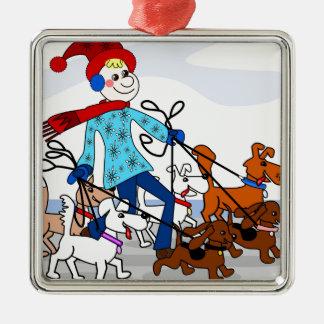 Dog walker square metal christmas ornament
