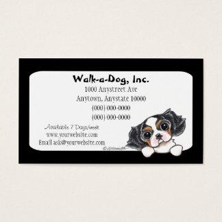 Dog Walker Tricolor CKCS Puppy Tuxedo Business Card