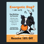"""Dog Walker Walking Ad Coupon Border Collie Flyer<br><div class=""""desc"""">Promote your dog walking business with these full color eye-catching flyers that you personalize with your own info. Original design by Andie, illustrator and creator of Off-Leash Art™, featuring her hand drawn Border Collie illustration. To change the background color, click the orange &quot;customize it!&quot; button below the product image, then...</div>"""