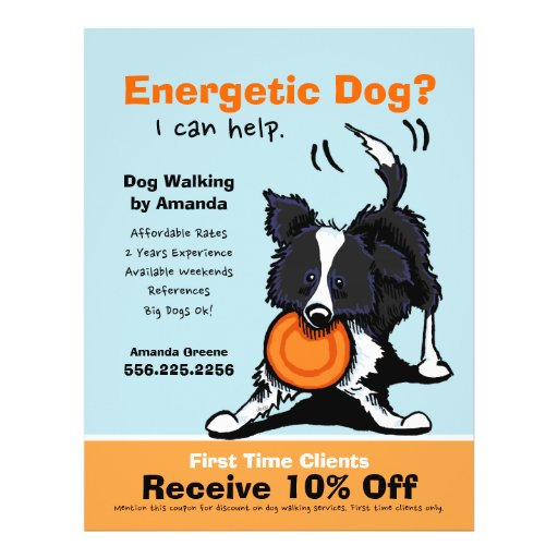 Dog Walker Walking Ad Coupon Border Collie Personalized Flyer