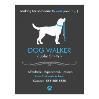 Dog walking flyers programs zazzle for Dog walking flyer template free