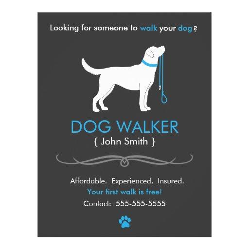 Dog Walker Walking Business Flyer Template Zazzle